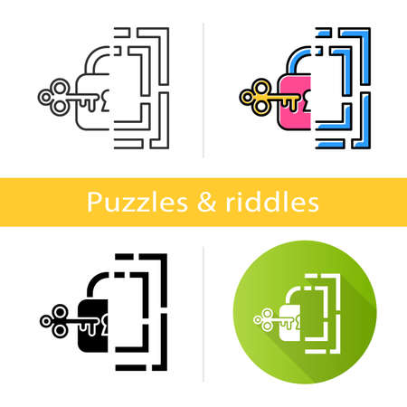 Riddle solution finding icon. Maze, key-lock puzzle. Mental exercise. Logic game. Ingenuity, intelligence test. Brain teaser. Flat design, linear and color styles. Isolated vector illustrations Ilustrace
