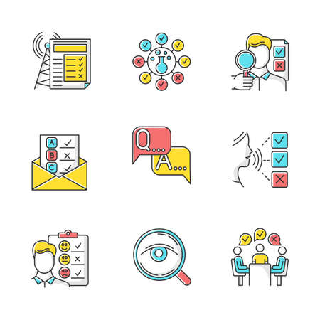 Survey methods color icons set. Chemical analysis. Email, internet connection poll. Public opinion. Customer satisfaction. Feedback. Data collection. Sociology. Isolated vector illustrations