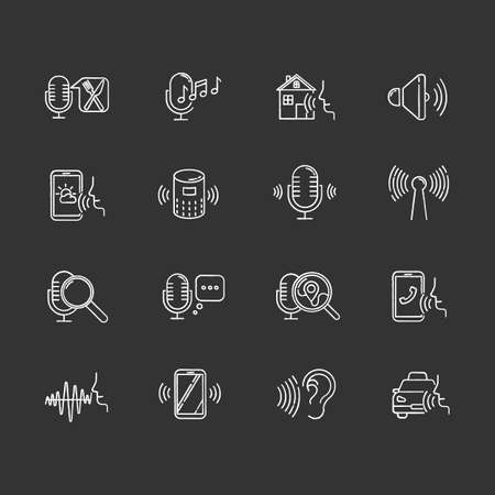 Voice control chalk icons set. Sound request idea. Speech recognition process. Microphone using modes, recording equipment. Remote controlled apps. Isolated vector chalkboard illustrations Standard-Bild - 134810862