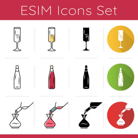 Sommelier glassware icons set. Pouring wine in decanter. Alcohol drink decantering. Pub, bar, restaurant. Barman tableware. Flat design, linear, black and color styles. Isolated vector illustrations