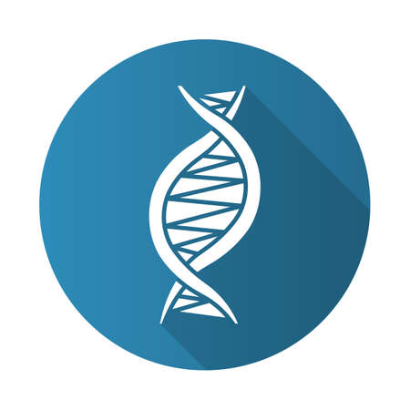 Left-handed DNA helix blue flat design long shadow glyph icon. Z-DNA. Deoxyribonucleic, nucleic acid structure. Chromosome. Molecular biology. Genetic code. Genetics. Vector silhouette illustration Иллюстрация