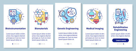 Bioengineering onboarding mobile app page screen with linear concepts. Medical imaging. Bioinstrumentation. Five walkthrough steps graphic instructions. UX, UI, GUI vector template with illustrations