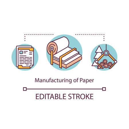 Manufacturing of paper concept icon. Local production idea thin line illustration. Cutting down trees for producing paper. Small bussiness process. Vector isolated outline drawing. Editable stroke Ilustración de vector