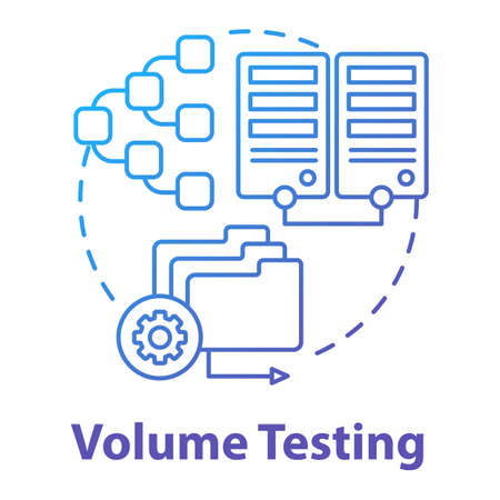 Volume testing concept icon. Software development stage idea thin line illustration. Analyze system perfomance. Data increase. Flood testing. App coding. Vector isolated outline drawing
