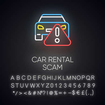 Car rental scam neon light icon. Low upfront payment. Fake insurance fee. Illegitimate vehicle hire deal. Cybercrime. Glowing sign with alphabet, numbers and symbols. Vector isolated illustration