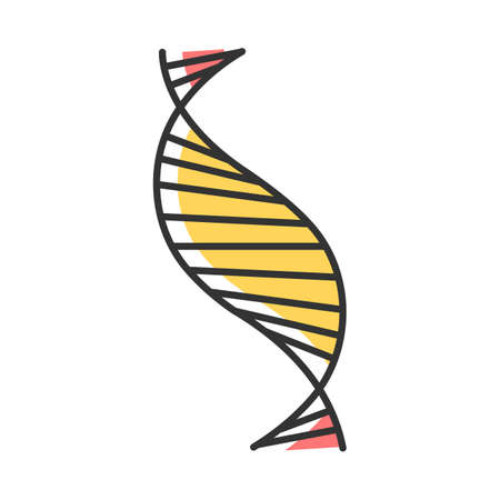DNA spiral strand color icon. Deoxyribonucleic, nucleic acid helix stripes. Chromosome. Molecular biology. Genetic code. Genome. Genetics. Medicine. Isolated vector illustration Иллюстрация