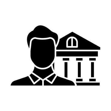 Credit manager glyph icon. Professional businessman. Customer service male worker. Economy, finance industry. Bank building. Silhouette symbol. Negative space. Vector isolated illustration Vector Illustration
