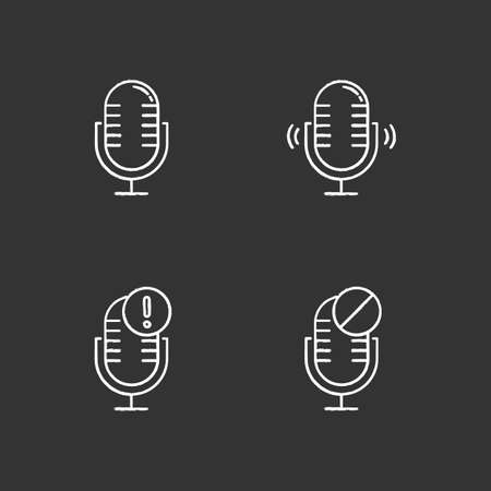 Microphone connection problems chalk icons set. Sound recording mistake idea. Voice record equipments. Podcast technology. Portable mics. Error notification. Isolated vector chalkboard illustrations Standard-Bild - 134810863