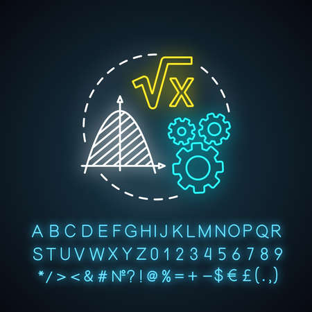 Mathematical foundations neon light concept icon. Calculations base idea. Combination of numbers, digits. Arithmetic and numerical system. Glowing sign with alphabet. Vector isolated illustration