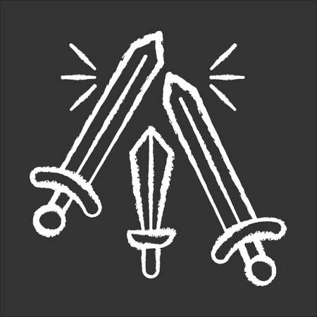 Sword fighting chalk icon. Weapon clashing. Battling and war. Ancient history. Longswords and broadswords. Military competition. Battlefield. Medieval culture. Isolated vector chalkboard illustration