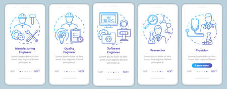 Bioengineering jobs onboarding mobile app page screen vector template. Researcher and physician. Walkthrough website steps with linear illustrations. UX, UI, GUI smartphone interface concept 向量圖像
