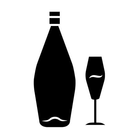 Wine glyph icon. Alcohol bar. Bottle and wineglass. Alcoholic beverage. Restaurant service. Glassware for dessert standard sweet wine. Silhouette symbol. Negative space. Vector isolated illustration Ilustração