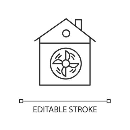 House ventilation linear icon. Conditioning home. Clean germs and microbes. Dust ventilation system. Thin line illustration. Contour symbol. Vector isolated outline drawing. Editable stroke Ilustrace