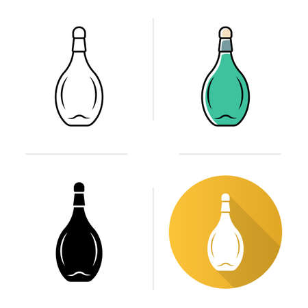 Chianti bottle with cork icons set. Sweet aperitif drink. Bar, restaurant, winery. Party, holiday tableware, glassware. Flat design, linear, black and color styles. Isolated vector illustrations Ilustração