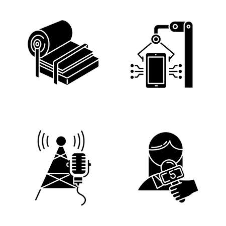 Industry types glyph icons set. Pulp and paper production. Electronics facility. Broadcasting tower. News and media. Person with microphone. Silhouette symbols. Vector isolated illustration