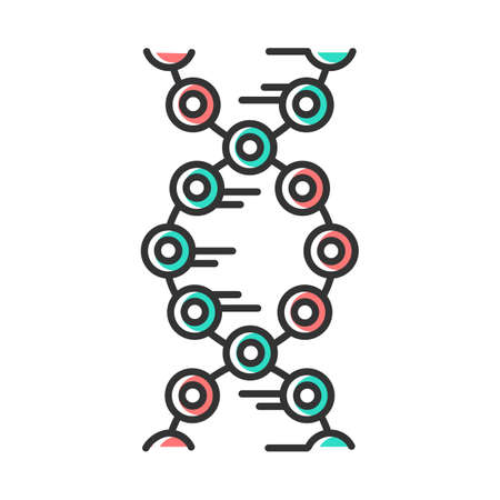 DNA strands color icon. Connected circles, lines. Deoxyribonucleic, nucleic acid helix. Chromosome. Molecular biology. Genetic code. Genome. Genetics. Medicine. Isolated vector illustration Иллюстрация