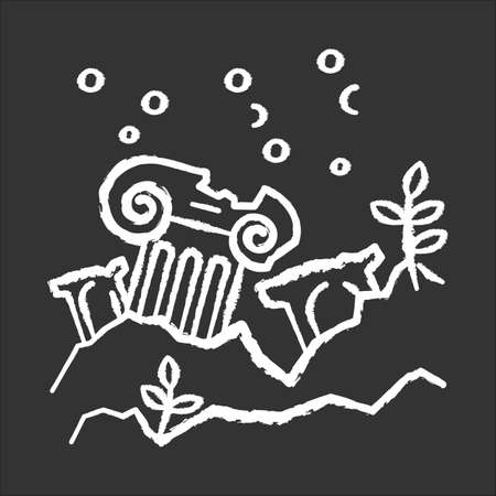 Lost city chalk icon. Ancient ruins in ocean. Columns underwater. Damaged pillar on sea bottom. Broken temple. Archeological discovery. Lost city exploration. Isolated vector chalkboard illustration