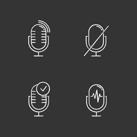 Microphone using modes chalk icons set. Voice control idea. Sound recorder installation. Speech recognition process. Mic connection problem. Technical mistake.Isolated vector chalkboard illustrations Standard-Bild - 134810987