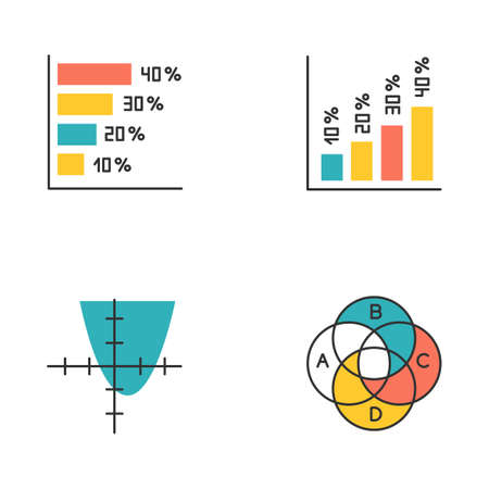 Chart and graph color icons set. Horizontal and vertical histogram with interest rates. Function curve. Venn diagram with letter indexes. Trigonometry study. Business. Isolated vector illustrations