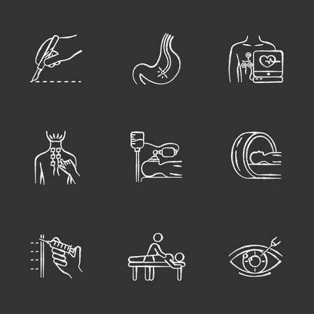 Medical procedure chalk icons set. Surgery. Endoscopy. Electrocardiogram. Physiotherapy. Anesthesia. Tomography for brain scan. Massage. Vision correction. Isolated vector chalkboard illustrations Illustration