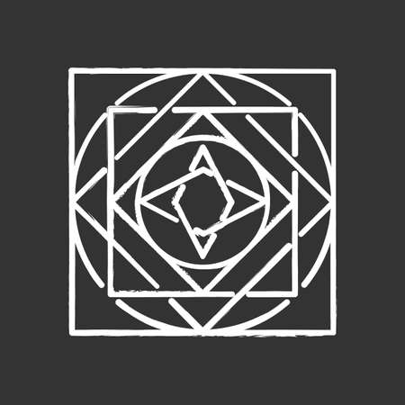 Ornate square chalk icon. Decorative geometric figure. Circles and square elements. Dynamic abstract cubic shape. Complex isometric form. Simple print. Isolated vector chalkboard illustration