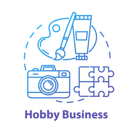Hobby business concept icon. Amusement freetime activity. Creative work. Art courses idea thin line illustration. Vector isolated outline drawing