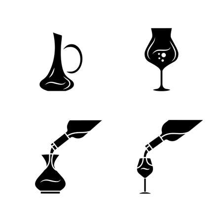 Wine service glyph icons set. Alcohol beverage pouring in glass. Sommelier, barman wineglasses, decanters. Different types of aperitif drinks. Silhouette symbols. Vector isolated illustration