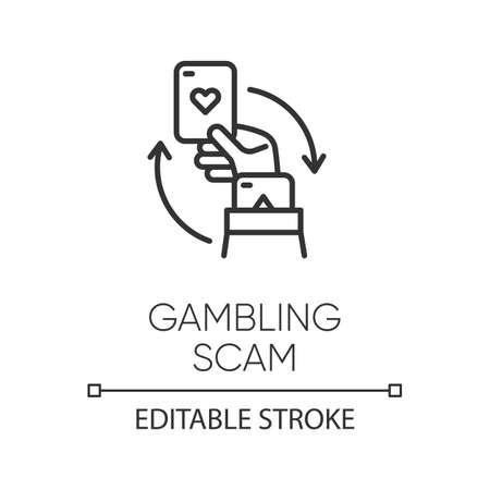 Gambling scam linear icon. Money betting, risk taking. Cheating in casino. Hand holding card. Cybercrime. Thin line illustration. Contour symbol. Vector isolated outline drawing. Editable stroke Ilustrace
