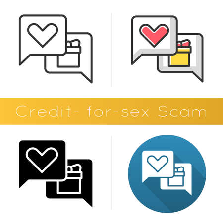 Credit-for-sex scam icon. Sexual favours. Dating, hookup fraud. Internet, web love scam. Cyber extortion. Fraudulent scheme. Flat design, linear and color styles. Isolated vector illustrations Ilustrace