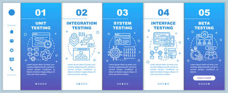 Functional software testing blue onboarding mobile web pages vector template. Responsive smartphone website interface idea with linear illustrations. Webpage walkthrough step screens. Color concept 版權商用圖片 - 134829775