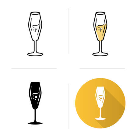 Flute wineglass icons set. Sparkling wine, champagne. Alcohol beverage with bubbles. Bar, restaurant party cocktail. Flat design, linear, black and color styles. Isolated vector illustrations