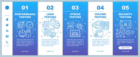 Non-functional software testing onboarding mobile web pages vector template. Responsive smartphone website interface idea with linear illustrations. Webpage walkthrough step screens. Color concept