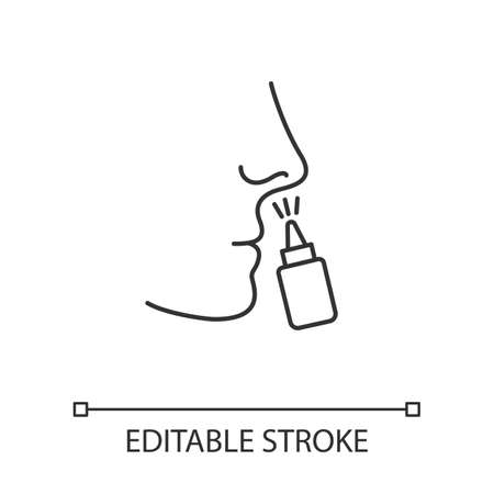 Drip nose linear icon. Nasal disease. Common cold. Medication. Disease treatment. Respiratory sprayer. Thin line illustration. Contour symbol. Vector isolated outline drawing. Editable stroke