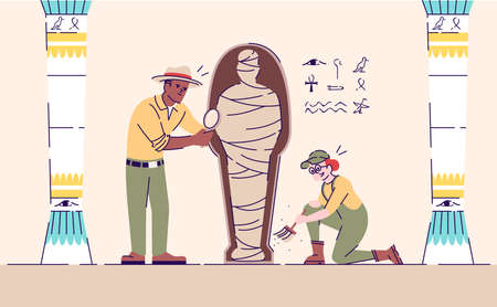 Scientists exploring mummy flat vector illustration. Archeological excavations working process. Mysteries of past studies. Man and woman analyzing egyptian artifact cartoon characters