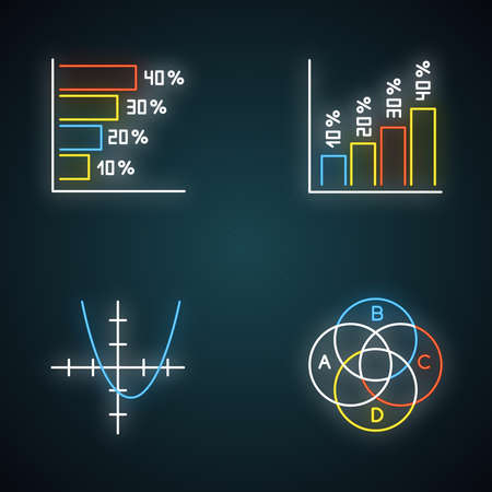Chart and graph neon light icons set. Horizontal and vertical histogram with interest rates. Function curve. Venn diagram. Trigonometry. Business. Glowing signs. Vector isolated illustrations