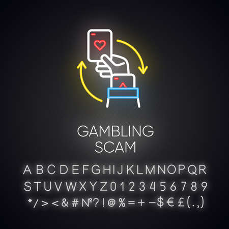 Gambling scam neon light icon. Money betting, risk taking. Cheating in casino. Hand holding card. Cybercrime. Glowing sign with alphabet, numbers and symbols. Vector isolated illustration