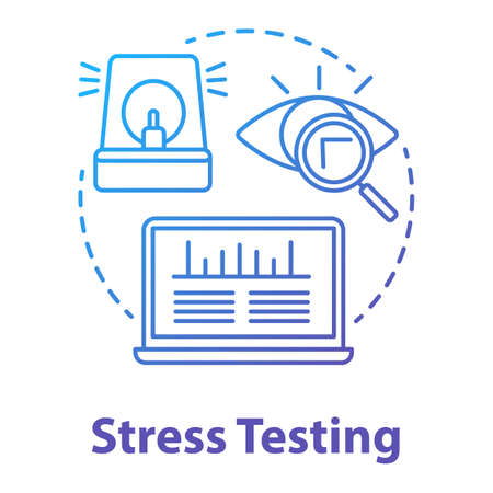 Stress testing concept icon. Software development stage idea thin line illustration. Application stability and reliability verification. IT project. Vector isolated outline drawing  イラスト・ベクター素材