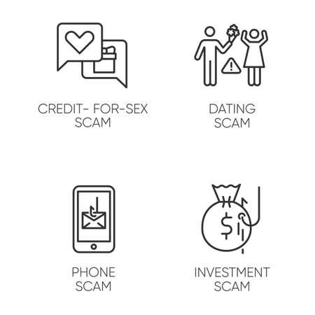 Ensemble d'icônes linéaires de types d'escroquerie. Système frauduleux de crédit pour le sexe. Téléphone, truc de smishing. Fraude aux rencontres en ligne. Symboles de contour de ligne mince. Illustrations de contour de vecteur isolé. Trait modifiable Vecteurs