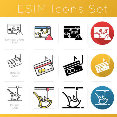 Scam types icons set. Software update trick. Malware. Cybercrime. Banking, pension fraudulent scheme. Illegal money gain. Flat design, linear, black and color styles. Isolated vector illustrations Illustration