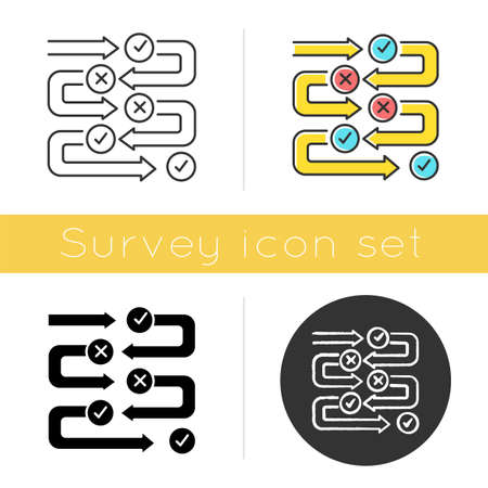 Survey process icon. Progress stages. Structure and workflow. Examination steps. Milestones. Correct, incorrect answers. Data flow. Flat design, linear and color styles. Isolated vector illustrations