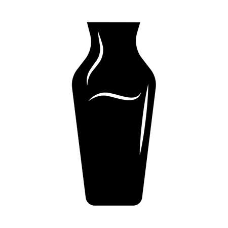 Wine service glyph icon. Decorative decanter with alcohol beverage. Aperitif drink. Bar, restaurant, winery glassware. Silhouette symbol. Negative space. Vector isolated illustration
