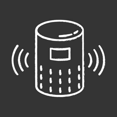 Modern smart speaker chalk icon. Voice command device idea. Virtual assistant. Wireless digital gadget. Portable music dynamic. Innovative technology. Isolated vector chalkboard illustration Illusztráció