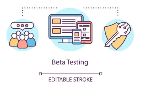 Beta testing concept icon. User verification idea thin line illustration. Software testing process. Indicating issues and problems. Vector isolated outline drawing. Editable stroke