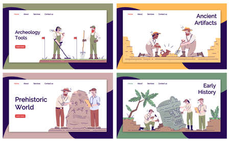 Archeology landing page vector template set. Archeological expedition website interface idea with flat illustrations. Historical researching homepage layout. Web banner, webpage cartoon concept