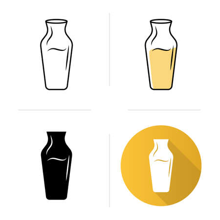 Decorative decanter with alcohol beverage icons set. Aperitif drink. Bar, restaurant, winery. Wine service. Flat design, linear, black and color styles. Isolated vector illustrations Ilustração