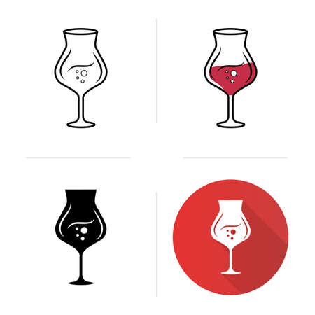 Madeira wineglass icons set. Alcohol beverage with bubbles. Party cocktail. Sweet aperitif drink. Tableware, glassware. Flat design, linear, black and color styles. Isolated vector illustrations Ilustração