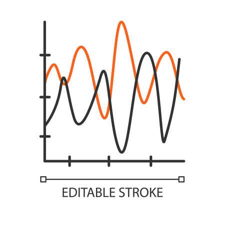Icona lineare del grafico di flusso. Carta sismica. Ampiezza e onde di moto. Diagramma della curva di radiazione. Illustrazione al tratto sottile. Simbolo di contorno. Disegno di assieme isolato vettoriale. Tratto modificabile Vettoriali
