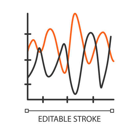 Stream graph linear icon. Seismic chart. Amplitudes and motion waves. Radiation curve diagram. Thin line illustration. Contour symbol. Vector isolated outline drawing. Editable stroke Vektorgrafik