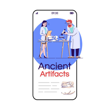 Ancient artifacts smartphone app screen. Mobile phone displays with cartoon characters design mockup. Scientists archeological researches. Laboratory application telephone interface