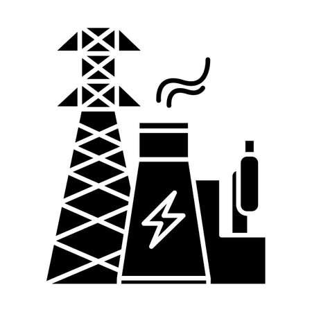 Icône de glyphe de l'industrie de l'énergie. Ingénierie électrique. Production et transport d'électricité. Centrale nucléaire et tour haute tension. Symbole de la silhouette. Espace négatif. Illustration vectorielle isolée